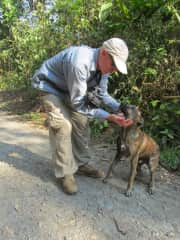 Garry with a hound while in Peru
