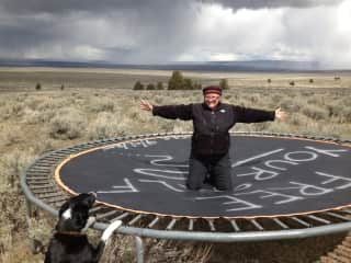 Free Yourself trampoline discovered in the middle of nowhere.