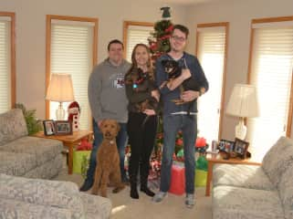 Our kids, from right to left, Matthew holding KC, Sarah holding Murphy, Jerad (Sarah's new husband) and their dog, Rusty.