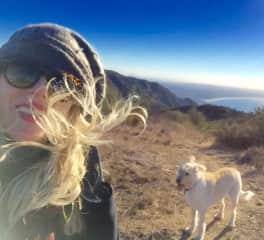 Dali and me, windy day up on Tuna Canyon.