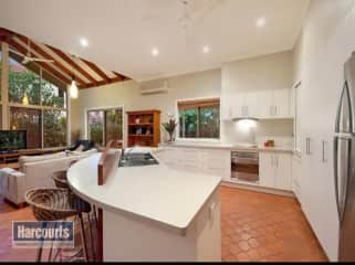 Kitchen and adjoining lounge area