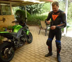 Riding: Lee and his shiny green machine.