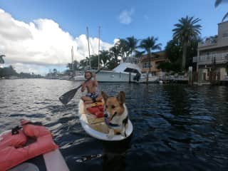 My Son and mrbeach paddleboarding 2019