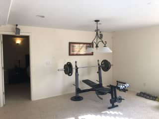 Weight Bench and free weights (5lbs to 20lbs)