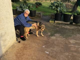 Lesley and Tilley back from a walk!