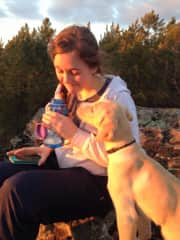 Brittany and Olie on a hike.