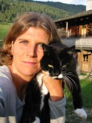 me (in younger years) with my cat Juno