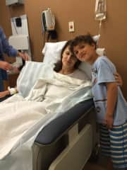 Oskar being nice to Mom after surgery!