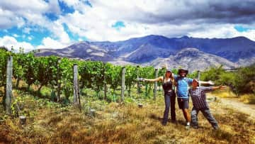 Yvonne and I pruning grape vines with Nagisa, at her husbands vineyard in Arrowtown, New Zealand
