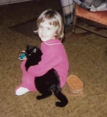Little Mindy with our cat Coalie