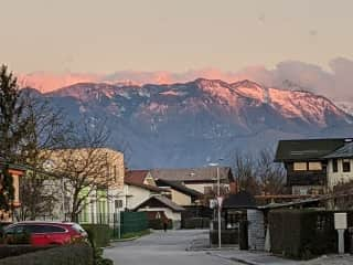 View of the mountains from the driveway.