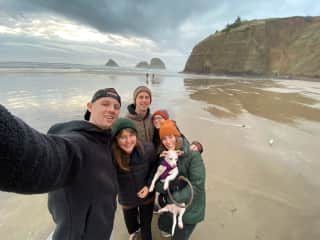 Enjoying a fun trip to the Oregon coast with family and my brother's dog, Sammy.