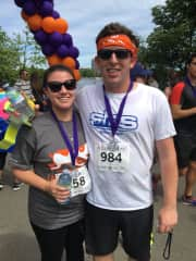 M and K after running the Fast and the Furriest 5k Race for animals