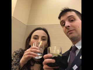 James and Cynthia at a wedding sneaking a selfie