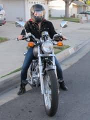 Chesalyn on her Honda Rebel