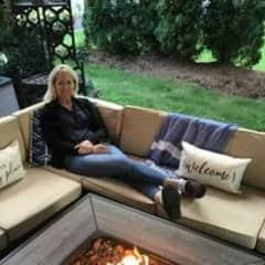 Enjoying our patio oasis.
