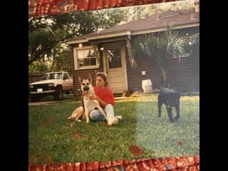 Me and my German shepherd Duke. He used to chew on rocks and had flat teeth. Very cool dog! From the late nineties ...