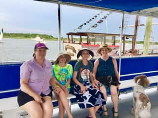Alison and Kathryn with family on our way to Shackleford Banks, NC (2019)