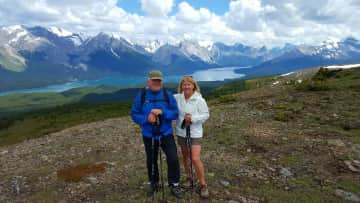 Rich and Judy hiking in Jasper, Alberta Canada