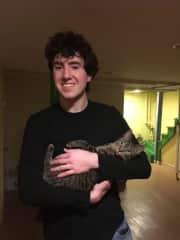 Collin with my foster kitten! (I adopted him, he is named Pepper)