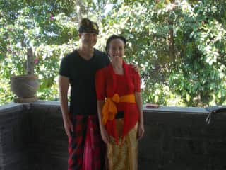 All dressed up for an Indonesian wedding in Ubud