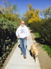 Ted walking Radford in Calgary, Alberta