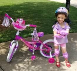 Fern with her new bike.
