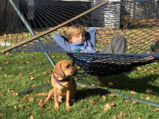 Puggles with my son Oliver
