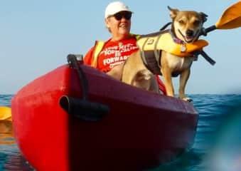 Ajax and I kayaking.