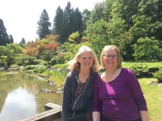 I'm with my sister at the Japanese Tea Garden in Seattle earlier in 2018. I'm the person on the left.