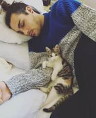 Cuddles with Soju.
