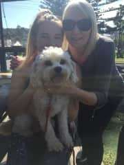 My daughter Rach and myself with Danny, our neighbours dog we look after regularly.