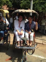 Elaine and Jean in a rickshaw in Old Delhi