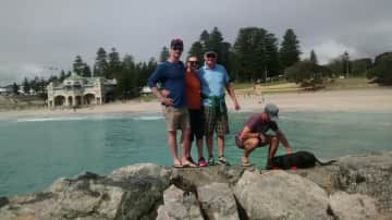 Freemantle, WA with our two boys and Druid the dog.