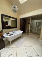 Downstairs master bathroom with heated floors, walk in shower, and clawfoot bath tub.