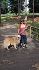 Bonnie taking Scorch for a walk at the park, we did over 2 miles.