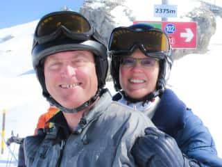 Richard and Riki Skiing in Switzerland