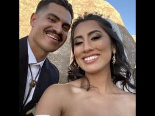 From our wedding day! Look at us