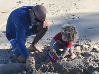 Beach time with our grandson!