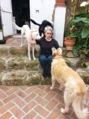 Leah with the pack in Spain