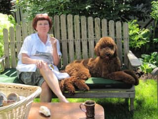 Donnae and Jo, the poodle I dog sit for often and of whom I am am honorary aunt.
