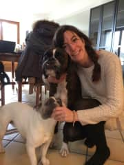 Morgane with the 2 lovely dogs of our first housesit in Sauverny - 2017.