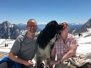 Our dog thanking us for the trip up the Zugspitze