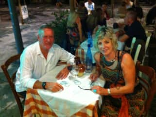 Mandy and I enjoying dinner in Athens