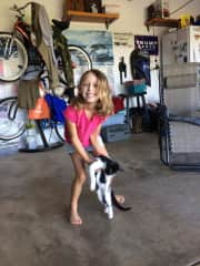 Addy, with our new adopted cat, Louie