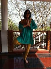 Carol,  yoga training in India.