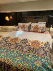 Bo ho master cabin with en suite head/shower.