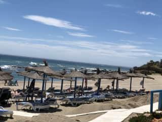local beach with coastal path