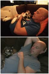 Our pets Zeke and Cali would always find a place on Chris's chest to cuddle.