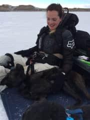 Me & Hazel taking a break on a snowkiting day on Boysen reservoir.